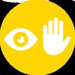 Icona occhio-mano gialla